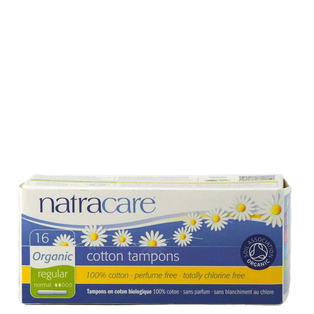 Pack of 16 Natracare Organic Cotton Tampons with Applicator Regular